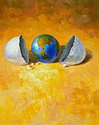 Globe Painting Originals - New World by Andrew Judd