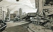 Cityscape Drawings - New World Order by Nicholas Bockelman