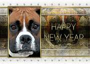 Boxer Digital Art Metal Prints - New Year - Golden Elegance Boxer Metal Print by Renae Frankz