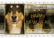 Collie Digital Art Metal Prints - New Year - Golden Elegance Collie Metal Print by Renae Frankz