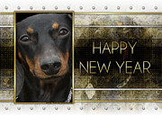 Dachshund Digital Art Framed Prints - New Year - Golden Elegance Dachshund Framed Print by Renae Frankz