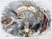 Father Time Posters - New Year, 1854 Poster by Granger
