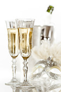 Champagne Glasses Framed Prints - New Year Champagne Framed Print by Christopher and Amanda Elwell