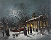 1876 Paintings - NEW YEARS EVE, c1876 by Granger