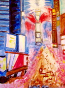 Crowds Painting Originals - New Years Eve in Times Square by Stanley Morganstein