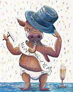 Champagne Paintings - New Years Hog by Nadine Rippelmeyer