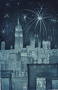Part Of Drawings - New Years in the City by Stephen Francis Duffy