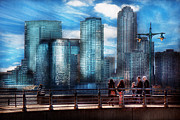 Urban Buildings Posters - New York - City - Hudson River Park - Downtown Poster by Mike Savad
