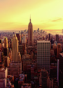 Aerial View Framed Prints - New York - Magic Hour At Top Of Rock Framed Print by Matt Pasant