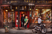 Urban Buildings Prints - New York - Store - Greenwich Village - Three Lives Books  Print by Mike Savad