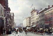 Snow Scene Paintings - New York: Broadway, 1855 by Granger