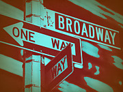 Wall Street Digital Art Prints - New York Broadway Sign Print by Irina  March