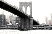 Nyc Digital Art Posters - New York Brooklyn Bridge Poster by Linda  Parker