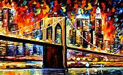 New York Painting Originals - New York Brookyln Bridge by Leonid Afremov