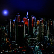Skyscrapers. Painting Posters - New York by Moonlight Poster by Stefan Kuhn