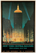 City Night Scene Paintings - New York Central Building by Chesley Bonestell