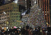 New York City Pastels Posters - New York Christmas Rockefeller Center Poster by Barry Rothstein
