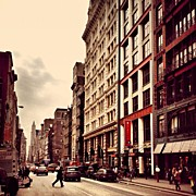 Landscapes Posters - New York City - Cloudy Day on Broadway Poster by Vivienne Gucwa