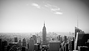 Black Top Posters - New York City - Empire State Building Panorama Black and White Poster by Thomas Richter