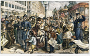 Police Stop Framed Prints - New York City, 1875 Framed Print by Granger