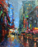 Impasto Drawings Posters - New York city 42nd street painting Poster by Svetlana Novikova