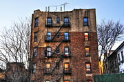 East Village Framed Prints - New York City Apartments Framed Print by Randy Aveille