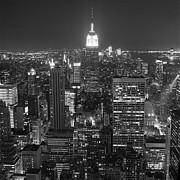 Black And White Photography Photos - New York City At Night by Adam Garelick