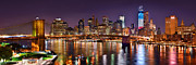 East River Photos - New York City Brooklyn Bridge and Lower Manhattan at Night NYC by Jon Holiday
