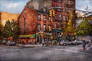 Urban Buildings Framed Prints - New York - City - Corner of One way and This way Framed Print by Mike Savad
