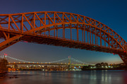 Refection Prints - New York City Hell Gate Bridges I Print by Clarence Holmes
