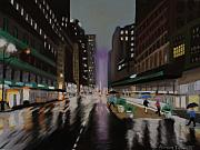 Cities Pastels Posters - New York City in the Rain Poster by Marion Derrett