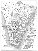Manhattan Map Framed Prints - New York City Map, 1729 Framed Print by Granger
