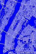 New York City Map Digital Art - New York City Map Streets Art Print   by Keith Webber Jr