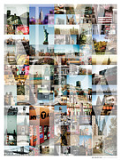 New York Prints - New York City Montage - Type Print by Darren Martin
