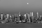 Bank Of America Photos - New York City Moonrise II by Clarence Holmes