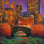 Street Scenes Painting Posters - New York City Night Autumn Poster by Johnathan Harris