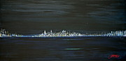 New York City Skyline Painting Framed Prints - New York City Nights Framed Print by Jack Diamond