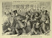 New York City Police Framed Prints - New York City Police Riot Of 1857. Riot Framed Print by Everett