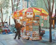 Hot Dog Stand Paintings - New York City Red Hots by Ann Caudle