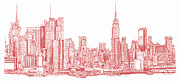 Red Buildings Drawings Framed Prints - New York city red ink Framed Print by Building  Art