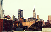 New York City Skyline Framed Prints - New York City Rooftops and the Empire State Building Framed Print by Vivienne Gucwa