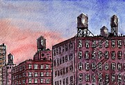 Landscapes Drawings - New York City Rooftops by Paul Piasecki