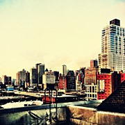 Landscapes Posters - New York City Rooftops Poster by Vivienne Gucwa