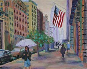Umbrella Pastels Framed Prints - New York City Sidewalk Framed Print by Marion Derrett
