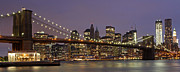 New York Photos Posters - New York City Skyline and Brooklyn Bridge Poster by Juergen Roth