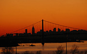 Broadway Digital Art Metal Prints - New York City Skyline at Dusk Metal Print by AdSpice Studios