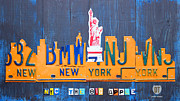 New York Mixed Media Framed Prints - New York City Skyline License Plate Art Framed Print by Design Turnpike