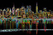 Edifices Posters - New York City Skyline Morning Twilight II Poster by Clarence Holmes