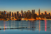 Edifice Framed Prints - New York City Skyline Morning Twilight III Framed Print by Clarence Holmes