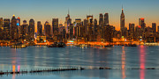 Bank Of America Framed Prints - New York City Skyline Morning Twilight IX Framed Print by Clarence Holmes
